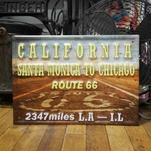 カリフォルニア ルート66 ブリキ看板 インテリア ROUTE66 エンボスティンサイン goodsfarm