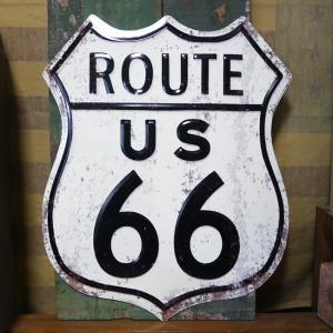アンティークエンボスプレート ルート66 ブリキ看板 インテリア ROUTE US66 ダイカット アメリカン雑貨|goodsfarm