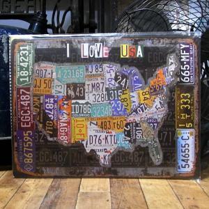 ブリキ看板 ヴィンテージ メタル看板 I LOVE USA ビンテージ インテリア アメリカン雑貨|goodsfarm