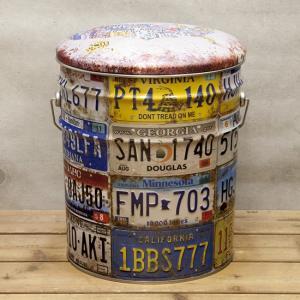 ぺール缶 スツール NUMBER PLATE 収納ボックス オイル缶 椅子|goodsfarm