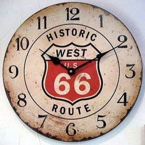 ルート66 掛け時計 木製 ウォールロック ROUTE66 アメリカン雑貨|goodsfarm