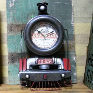 テキサス クロック トレイン 壁掛け時計 置時計 機関車 ブラウン|goodsfarm