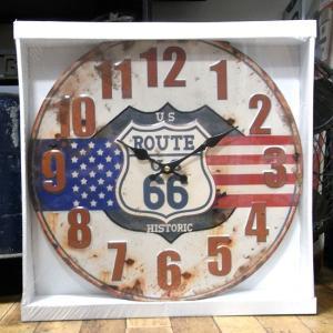 US Route66 掛け時計 アンティーク エンボス ティンクロック|goodsfarm