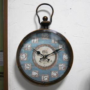 アンティーク ウォールクロック ブルー 掛け時計 レトロ 時計|goodsfarm