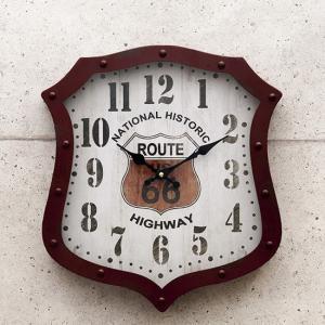 アンティーク ダイカット クロック 掛け時計 ルート66 アメリカン雑貨|goodsfarm