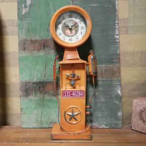 ルート66 置時計 ガソリンスタンドクロック イエロー ガスポンプ 時計 goodsfarm
