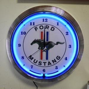 フォード マスタング ネオンクロック 掛け時計 FORD MUSTANG NEON CLOCK SINGLE ウォールクロック|goodsfarm