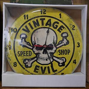 VINTAGE EVIL YELLOW SKULL ガレージクロック ウォールクロック 壁掛け時計 バブルクロック goodsfarm