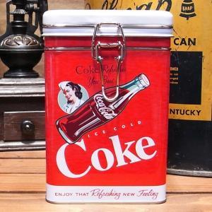 コカコーラ スクエアキャニスター缶 Coke アメリカン雑貨|goodsfarm