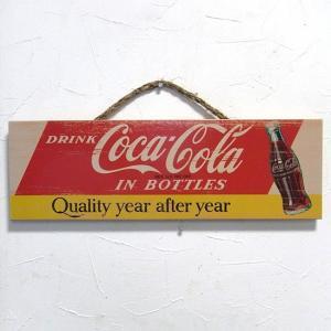 コカコーラ 木製看板 CokeQuality ウッドサイン オールドアメリカン|goodsfarm