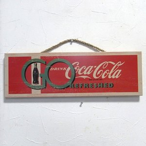 コカコーラ 木製看板 CokeRefreshed ウッドサイン オールドアメリカン アメリカン雑貨|goodsfarm