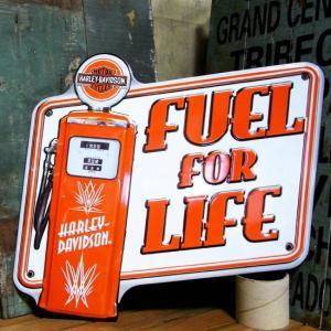 ハーレーダビッドソン FUEL FOR LIFE ダイカット メタルサインプレート|goodsfarm