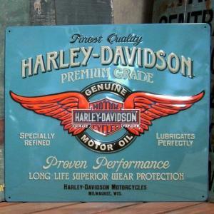 ハーレーダビッドソン PREMIUM GRADE MOTOR OIL メタルサインプレート インテリア ブリキ看板|goodsfarm