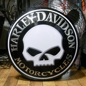 ハーレーダビッドソン Willy Button ダイカットエンボスティンサイン HARLEY-DAVIDSON|goodsfarm