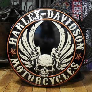 ハーレーダビッドソン Flying Skull Button Sign ダイカットエンボスティンサイン HARLEY-DAVIDSON|goodsfarm