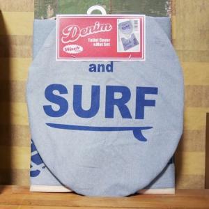 デニム SURF トイレカバー マット 2点セット ブルー goodsfarm