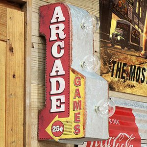 バー インテリア LEDサイン ARCADE GAMES ミニ オフ ザ ウォールサイン|goodsfarm