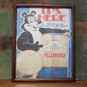 HAMM BEER BEAR SIGN インテリアピクチャー ポスター フレーム|goodsfarm