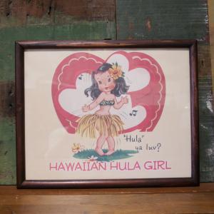 HAWAIIAN HULA GIRL インテリアピクチャー ポスター フレーム|goodsfarm