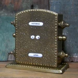 卓上 ブラス 万年カレンダー 真鍮製 レトロ アンティークタイプ goodsfarm