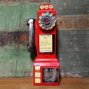 レトロ アメリカン 公衆電話 貯金箱 レッド 電話機 インテリア|goodsfarm