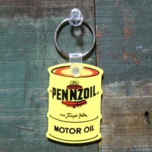 オイル缶 ラバー キーホルダー PENNZOIL ペンズオイル アメリカン雑貨|goodsfarm