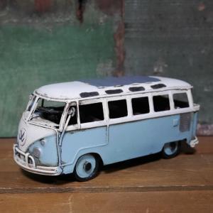 ブリキのおもちゃ ワーゲンバス ノスタルジックデコ VB ニューライトブルー インテリア バス
