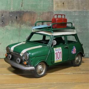 フォトスタンド キャリーカー ブリキのおもちゃ ミニクーパー インテリア carrier car|goodsfarm
