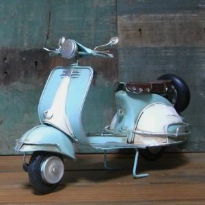 ブリキのおもちゃ BIGスクーター ノスタルジックデコ バイク ライトブルー goodsfarm