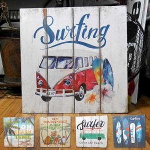 ハワイアン ウッドボード インテリア 木製看板 サーフバス ウォールプレート アメリカン雑貨|goodsfarm