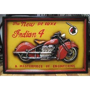 木製看板 インディアン バイク ウッドボード インテリア アメリカン雑貨|goodsfarm