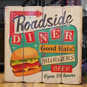 ウッドボード ハンバーガー インテリア 木製看板 Diner|goodsfarm