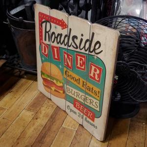 ウッドボード ハンバーガー インテリア 木製看板 Diner goodsfarm 02