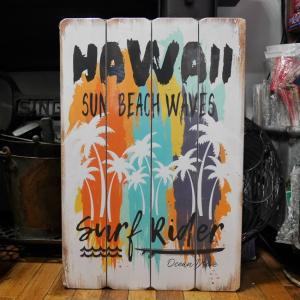 ウッドボード ハワイアン インテリア 木製看板 Hawaii Surf Rider|goodsfarm