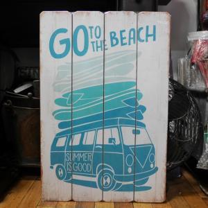 ウッドボード ハワイアン インテリア 木製看板 Go to the Beach|goodsfarm