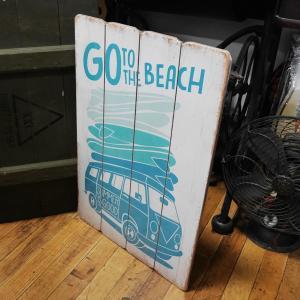 ウッドボード ハワイアン インテリア 木製看板 Go to the Beach|goodsfarm|02