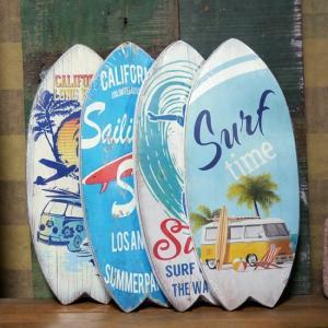 サーフボード ハワイアン インテリア 木製看板 ウォールプレート アメリカン雑貨