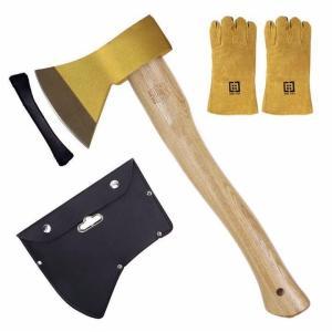 手斧 薪割り おの 手斧セット キャンプ 焚き火用 アウトドア ソロ 金色 ゴールド 全長39cm ...