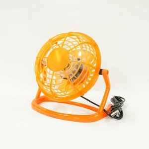 [USB卓上扇風機(オレンジ)]L213-LILENG-816/OR 首が上下に360°回転するUSB卓上扇風機