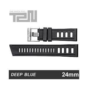 【24MM/22MM 130/75】 DEEP BLUE (ディープブルー) 24-H99BK DIVER 天然ゴム ダイバーラダーズストラップ 替えベルト ブラック 腕時計用 【あすつく】|goody-online