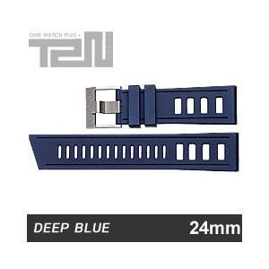 【24MM/22MM 130/75】 DEEP BLUE (ディープブルー) 24-H99BL DIVER 天然ゴム ダイバーラダーズストラップ 替えベルト ブルー 腕時計用 【あすつく】|goody-online