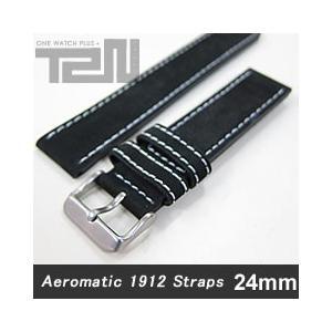 Aeromatic 1912 (エアロマティック1912) A-Band-L-NBK-20 純正 替えベルト 20mm レザーベルト ブラック 腕時計|goody-online