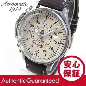 Aeromatic 1912(エアロマティック 1912) A1394 自動巻き レトロパイロット リューズガード GMT ドイツミリタリー メンズウォッチ 腕時計 【あすつく】|goody-online