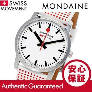 MONDAINE (モンディーン) A400.30351.11SBA レザーベルト ホワイトダイアル ポルカドット スイスメイド/SWISS MADE レディースウォッチ 腕時計|goody-online