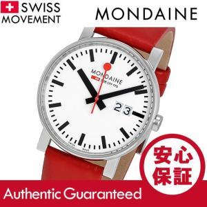 MONDAINE (モンディーン) A627.30303.11SBC Evo/エボ レザーベルト ホワイトダイアル レッド スイスメイド/SWISS MADE ユニセックスウォッチ 腕時計|goody-online