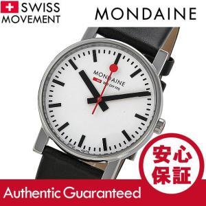 MONDAINE (モンディーン) A658.30300.11SBB レザーベルト ホワイトダイアル ブラック スイスメイド/SWISS MADE メンズウォッチ 腕時計|goody-online