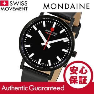 MONDAINE (モンディーン) A660.30314.64SBBS レザーベルト ブラックダイアル ブラック スイスメイド/SWISS MADE ユニセックスウォッチ 腕時計|goody-online