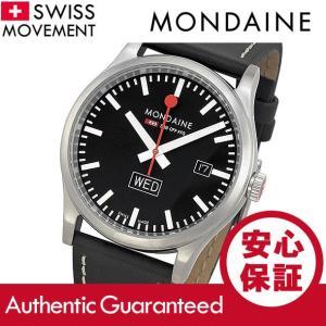 MONDAINE (モンディーン) A667.30308.19SBB レザーベルト ブラックダイアル ブラック スイスメイド/SWISS MADE メンズウォッチ 腕時計|goody-online