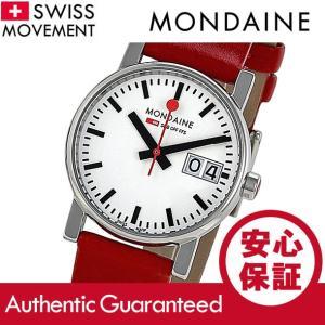 MONDAINE (モンディーン) A669.30305.11SBC レザーベルト ホワイトダイアル レッド スイスメイド/SWISS MADE レディースウォッチ 腕時計|goody-online