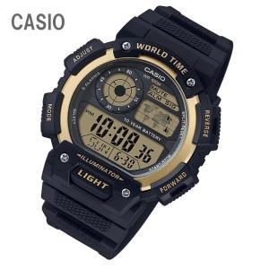 CASIO/チープカシオ AE-1400WH-9A/AE1400WH-9A ワールドタイム デジタル ブラック/ゴールド メンズ チプカシ キッズ/子供にもオススメ! 腕時計 【あすつく】|goody-online